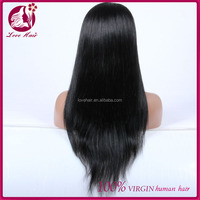 Factory price fashion style top quality full lace black people virgin cambodian hair wig
