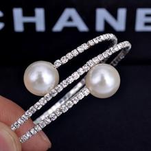 Sya 2014 Fashion Snake Strentchy Rhinestones Big Pearl Bracelets Cheap
