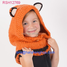(RSH12769) Wholesale hand knitted animal beanie hat / Fox Cowl Hat