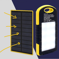 Outdoor Portable Travel Waterproof 12000mAh Mobile Solar Power Bank with LED Lights