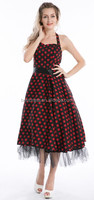 2014 wholesale cheapest Bestdress Rockabilly 50 60s Vintage Halterneck White Fabric With Red Polka Dots Dress