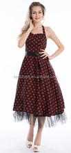2014 venta al por mayor más barato Bestdress Rockabilly 50 60 s Vintage top blanco de la tela con lunares rojos vestido