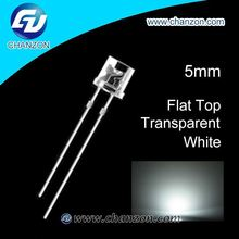 water clear HOT SALE Through hole led 5mm white flat top