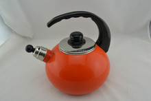 2.2L Surprise orange Enamel Decal Bakelite Handle Cast Iron Enamel Whistling Kettle /teapot