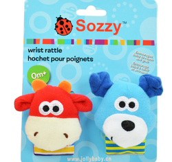 sozzy wrist rattle with paper card package, new design watch belt, dog and cow designs
