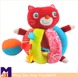 High quality pp cotton cat plush toy with rattle function ball