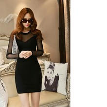 Long sleeve with knee length summer fashion women dress 2014 fashion china