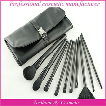 2015 best private label 10 pcs makeup brush set travel cosmetic kit with PU bag