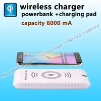 Qi wireless charger in power banks for s6/5 xiaomi redmi note2 charging pad with battery Portable wireless powermat plate