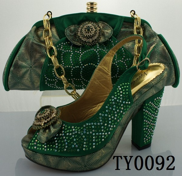Green Latest Italian Matching Shoes And Bag Set High Quality Bridal Shoes And Bag To Match For ...