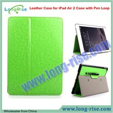 Hot Selling Crazy Horse Pattern Folio Flip Leather Case for iPad Air 2 Case with Pen Loop