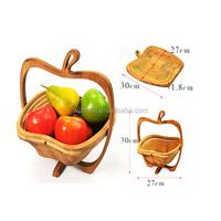 apple shaped bamboo folding fruit basket, wood craft fruit baskets wholesale