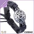 pulsera aleación barato tejido hecho a mano pulsera de cuero al por mayor