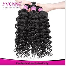 100 Human hair cambodian curly hair weave