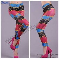 Plus size elastic printed jeans pants for women fashion style 2013