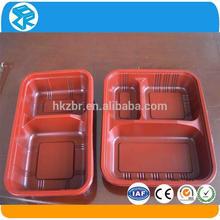 2014 venta caliente de plástico desechable bandeja de comida bento lunch box con divisores