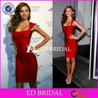 Custom Made Sexy Cap Sleeve Sheath Short Red Spandex Cheap Bandage Dress