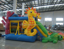 commercial grade pvc material little turtle inflatable bouncer with slides