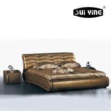 Modern Bedroom Set,Silver leather Upholstered King size Bed