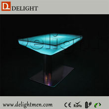 Outdoor furniture hot sale illuminated remote control rechargeable led glowing/lighting coffee/wine tables with aluminum base