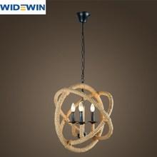 Restaurar antigas formas corda de cânhamo lustre loft luz corda forma de bola lâmpadas de ferro forjado bar café sala de estar luz