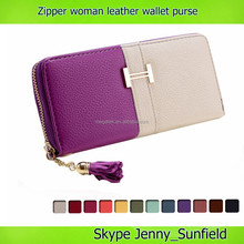 Dual color world fashion designer leather wallet woman purse leather