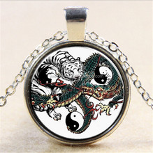 Fashion dragon/tiger/yingyin pendant necklace bronze glass cabochon chain necklace