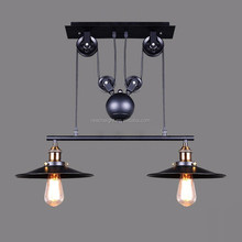 1/2/3 Head Vintage Iron RH Loft Industrial LED American Country Pulley PendantLights Adjustable Wire Lamps Retractable Bar Light