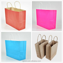 OEM folding printed shopping paper bag / kraft shopping paper bag / brown shopping paper bag