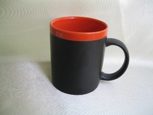ceramic writable mug with chalk with customized logo in round shape with memo pen