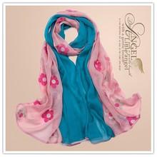 Wholesale new coming winter autumn fashion korean pretty red ladies silk linen embroidery scarf shawl