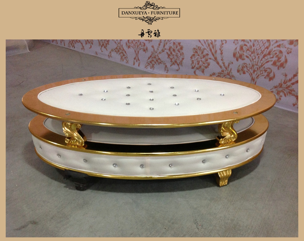 Danxueya Oval Gold Beige Velvet Luxury Royal Coffee Table With Glass Top