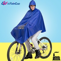 Adult waterproof reusable rubber bicycle rain poncho