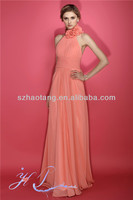 HT1360 Elegant halter long chiffon coral colour prom gown gowns made in the philippines
