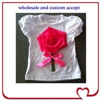 hot pink rose top flower girls T-shirt design,fashion short sleeve white shirt