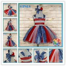 Kids Clothing Wholesale Baby Girl Party Dress Children Frocks Designs Red And White Flower Girl Dress