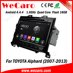 """Wecaro android 4.4.4 car dvd touch screen 9"""" for toyota alphard navigation TV tuner 2007 - 2013"""