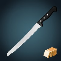 """kitchen knife professional stainless steel blade 10"""" Narrow kitchen Bread knife with POM handle"""