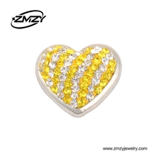 China Wholesale Diy Charms Shining Crystal Love Heart Snap Button for European Bracelet