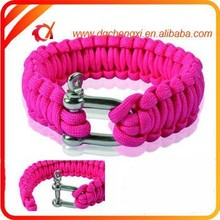 "Paracord Braided Bracelet with Stainless Steel D Shackle - Adjustable Size Fits 7""-8"" Wrists"