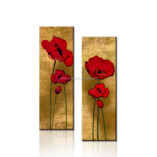 Red Flower Oil Painting On Canvas/Modern Decor Painting Art/Flower Wall Art