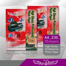 2015 Wholesale A4 High Glossy Photo Paper 230g for all inkjet printers China Manufacture