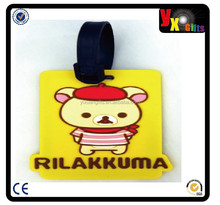 Yellow 3D Rilakkuma Baggage Tag Bags Name Label Kids Water Bottle Backpack Travel Accessories Cheap Valentines Day Gift