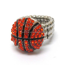 Wholesale Costume Jewelry crystal deco basketball stretch ring