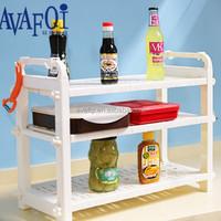 Plastic kitchen triple storage rack