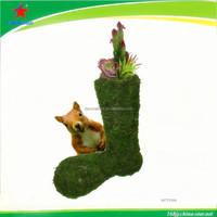 nice green moss boot planter for garden decor