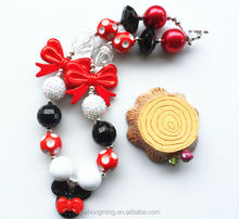 Mickey mouse character pendant&Disney butterfly &child jewelry for kid/girl chunky bead necklace