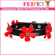 unique pet products flower pet collar soft PU material dog collar manufacturer