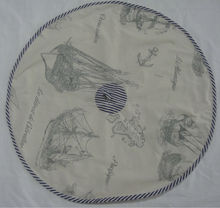 Linen and Cotton light brown and blue color round shape table cloth with ships design for home decoration
