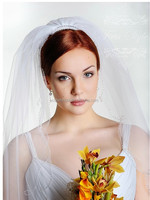 2015 wholesale arabic bridal veils beaded trim with comb soft tulle fabric Beading Wedding Veil